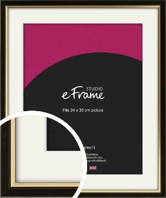 Decorative Gold Edge & Black Picture Frame & Mount, 24x30cm (VRMP-385-M-24x30cm)