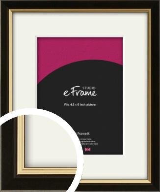 Decorative Gold Edge & Black Picture Frame & Mount, 4.5x6