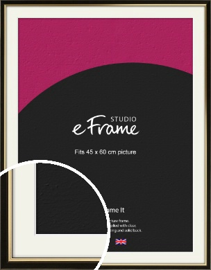 Decorative Gold Edge & Black Picture Frame & Mount, 45x60cm (VRMP-385-M-45x60cm)