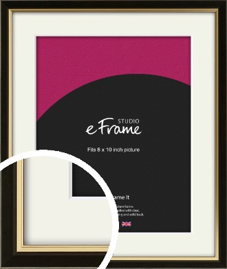 Decorative Gold Edge & Black Picture Frame & Mount, 8x10
