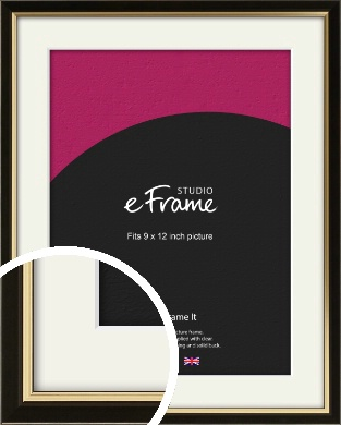 Decorative Gold Edge & Black Picture Frame & Mount, 9x12