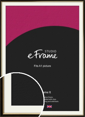 Decorative Gold Edge & Black Picture Frame & Mount, A1 (594x841mm) (VRMP-385-M-A1)