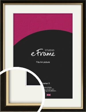 Decorative Gold Edge & Black Picture Frame & Mount, A4 (210x297mm) (VRMP-385-M-A4)