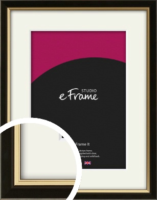Decorative Gold Edge & Black Picture Frame & Mount (VRMP-385-M)