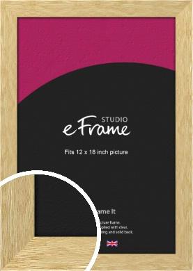 Basic Solid Oak Natural Wood Picture Frame, 12x18