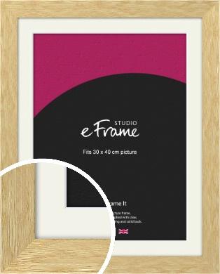 Basic Solid Oak Natural Wood Picture Frame & Mount, 30x40cm (VRMP-426-M-30x40cm)