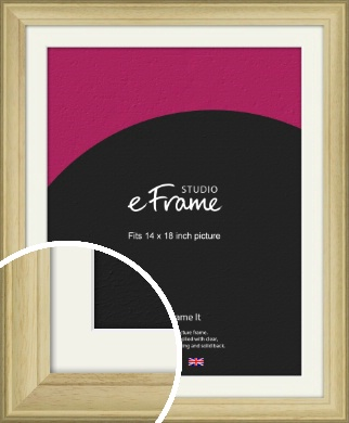 Ridged Country Natural Wood Picture Frame & Mount, 14x18