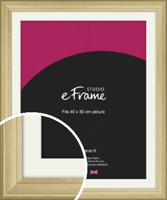 Ridged Country Natural Wood Picture Frame & Mount, 40x50cm (VRMP-799-M-40x50cm)