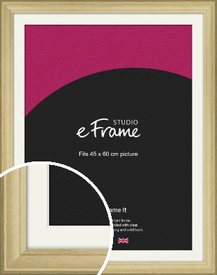 Ridged Country Natural Wood Picture Frame & Mount, 45x60cm (VRMP-799-M-45x60cm)