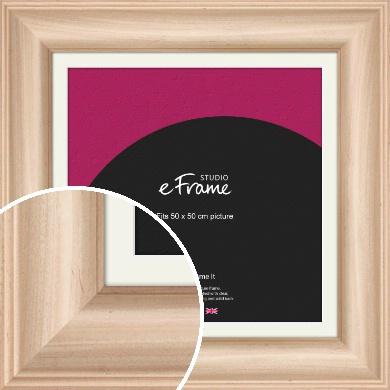 Classic Style Natural Wood Picture Frame & Mount, 50x50cm (VRMP-432-M-50x50cm)