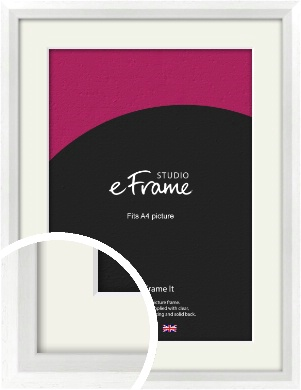 Graceful Washed White Picture Frame & Mount, A4 (210x297mm) (VRMP-150-M-A4)