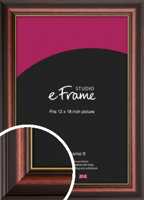 Gold Edged Cherry Brown Picture Frame, 12x18