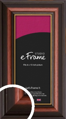 Gold Edged Cherry Brown Picture Frame, 4x10