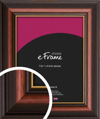 Gold Edged Cherry Brown Picture Frame, 7x9