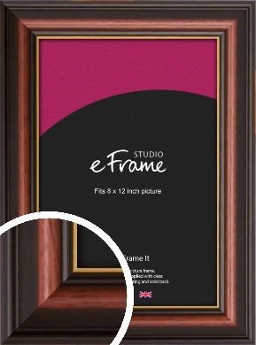 Gold Edged Cherry Brown Picture Frame, 8x12