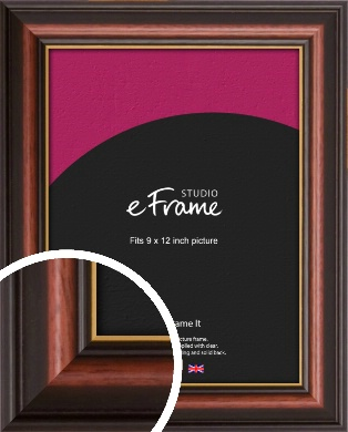 Gold Edged Cherry Brown Picture Frame, 9x12
