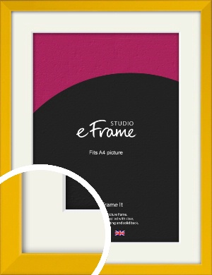 Narrow Saffron Yellow Picture Frame & Mount, A4 (210x297mm) (VRMP-810-M-A4)