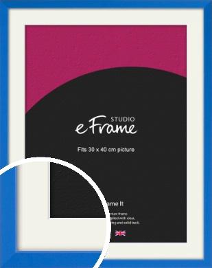 Clean Azure Blue Picture Frame & Mount, 30x40cm (VRMP-813-M-30x40cm)