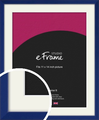 Simple Prussian Blue Picture Frame & Mount, 11x14
