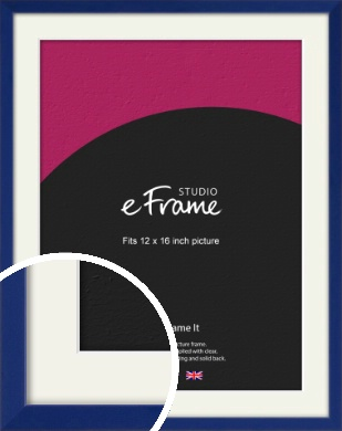 Simple Prussian Blue Picture Frame & Mount, 12x16