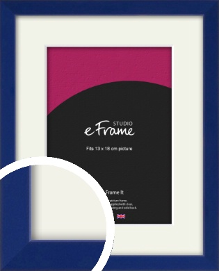 Simple Prussian Blue Picture Frame & Mount, 13x18cm (5x7