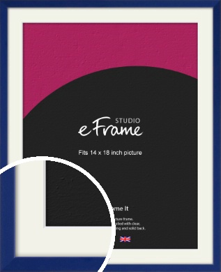 Simple Prussian Blue Picture Frame & Mount, 14x18