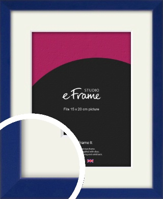 Simple Prussian Blue Picture Frame & Mount, 15x20cm (6x8