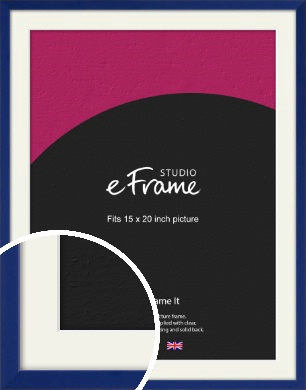Simple Prussian Blue Picture Frame & Mount, 15x20