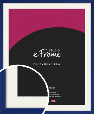 Simple Prussian Blue Picture Frame & Mount, 16x20