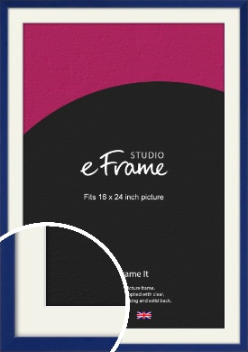 Simple Prussian Blue Picture Frame & Mount, 16x24