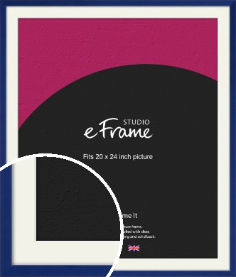 Simple Prussian Blue Picture Frame & Mount, 20x24