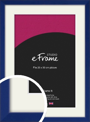 Simple Prussian Blue Picture Frame & Mount, 20x30cm (8x12
