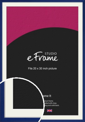 Simple Prussian Blue Picture Frame & Mount, 20x30