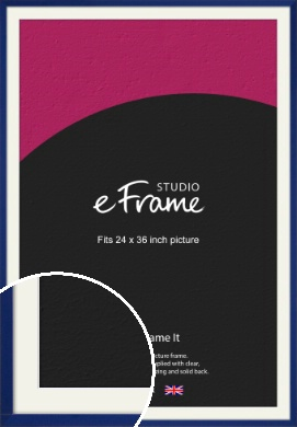 Simple Prussian Blue Picture Frame & Mount, 24x36
