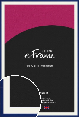 Simple Prussian Blue Picture Frame & Mount, 27x41
