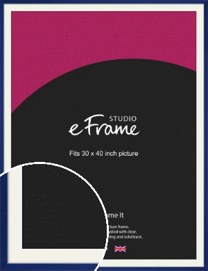 Simple Prussian Blue Picture Frame & Mount, 30x40