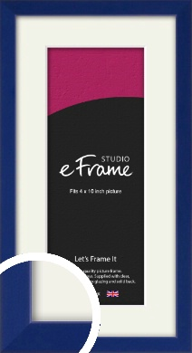 Simple Prussian Blue Picture Frame & Mount, 4x10