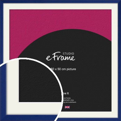 Simple Prussian Blue Picture Frame & Mount, 50x50cm (VRMP-817-M-50x50cm)