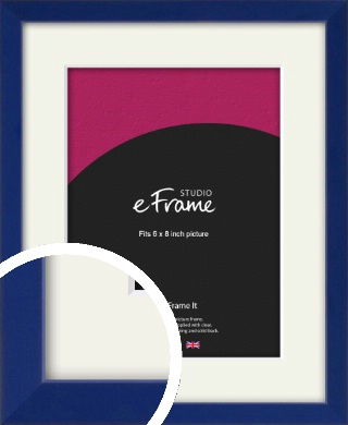 Simple Prussian Blue Picture Frame & Mount, 6x8