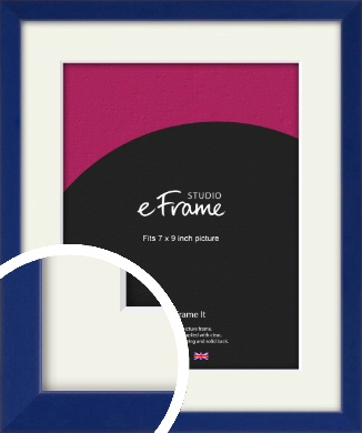 Simple Prussian Blue Picture Frame & Mount, 7x9