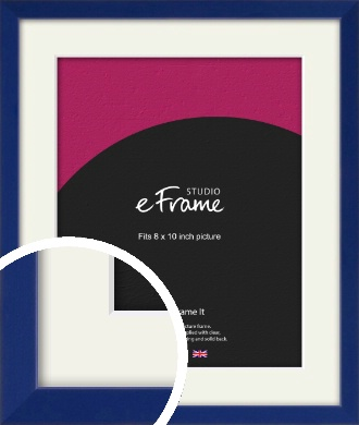 Simple Prussian Blue Picture Frame & Mount, 8x10