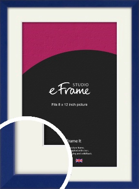 Simple Prussian Blue Picture Frame & Mount, 8x12