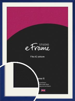 Simple Prussian Blue Picture Frame & Mount, A2 (420x594mm) (VRMP-817-M-A2)