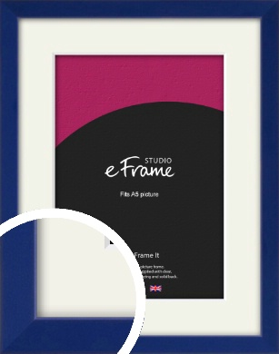 Simple Prussian Blue Picture Frame & Mount, A5 (148x210mm) (VRMP-817-M-A5)