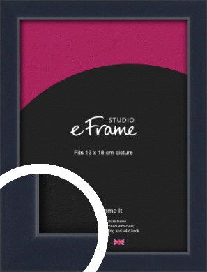 Straight Edged Navy Blue Picture Frame, 13x18cm (5x7
