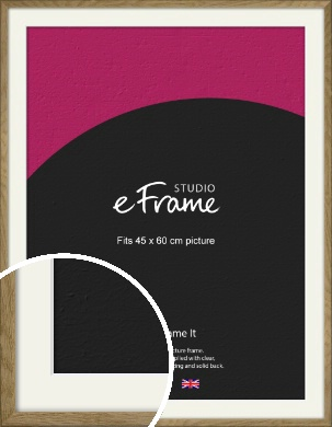 Farmhouse Natural Wood Picture Frame & Mount, 45x60cm (VRMP-822-M-45x60cm)