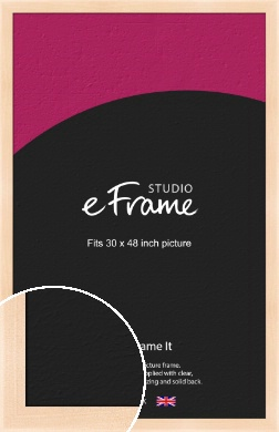 Rounded Natural Wood Picture Frame, 30x48