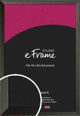 Flat Modern Black Picture Frame, 16x24