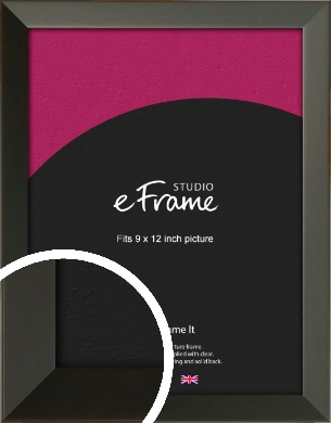 Flat Modern Black Picture Frame, 9x12