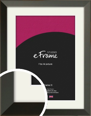Flat Modern Black Picture Frame & Mount, A4 (210x297mm) (VRMP-764-M-A4)
